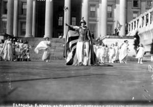 "Actress Hedwig Reicher as ""Columbia"" with other suffrage pageant participants, 1913. Library of Congress."