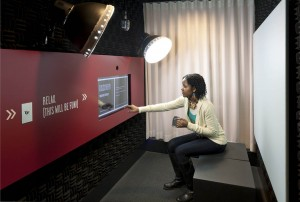 A user-friendly touchscreen inside the Object Stories booth guides participants through the recording process.