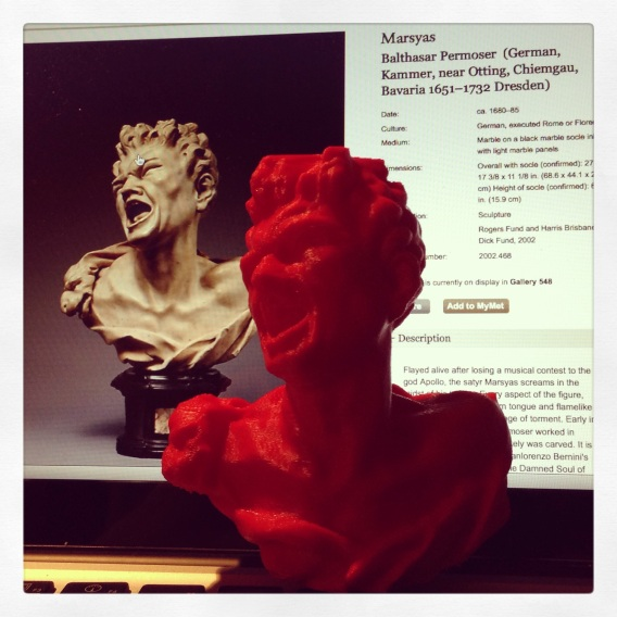 """Marsyas"" (2013) by MakerBot, and ""Marsyas"" (1680-85) byBalthasar Permoser"