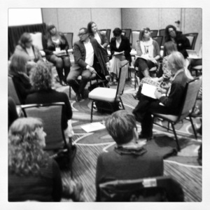 conversation at our sessiomn (yes, we exploded the traditional conference furniture layout)