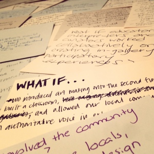 "sampling of the 50+ ""what if"" statements that participants brainstrormed for crowdsourcing"