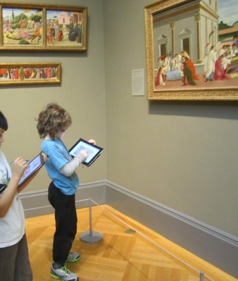 Third graders with iPads in the European Painting Galleries at The Metropolitan Museum of Art (Photo courtesy S. Brudnick).
