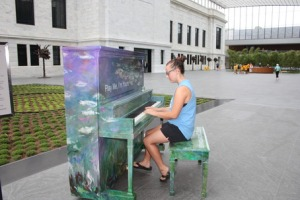 """Play Me, I'm Yours"" at the Cleveland Museum of Art, decorated like their famous Monet ""Water Lilies"" painting"