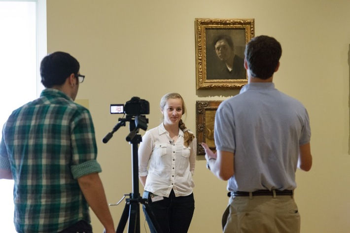 Recording video content with teens as part of the Teen CO-OP program at the Cleveland Museum of Art.