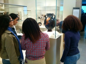 Students looking together at the Met
