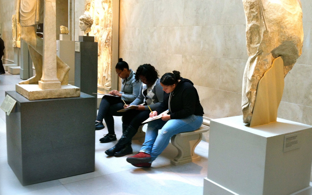Students reflecting at the Met - small