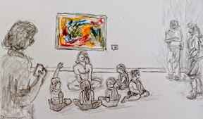 """Figure 1: I did this awkward little drawing as a composite memory of many family programs in different museums. While this is from my experience, try a Google image search for """"family programs in art museums"""" and you will find, amidst lots of pictures of kids making art, some images that have this same basic choreography. Yes, the odd tilt of the painting bothers me too."""