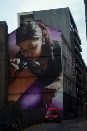 Figure 2: Sam Bates a.k.a. Smug, Girl with Magnifying Glass, Glasgow, Scotland.