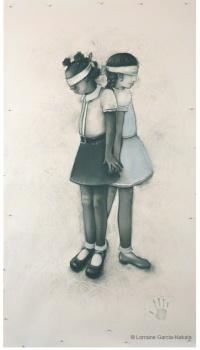 "Lorraine García-Nakata, ""Friends, No Matter What,"" Charcoal/Pastel On Paper, 7' x 4' 2"" , 2008"