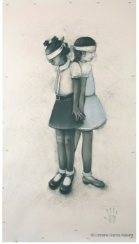 "Lorraine García-Nakata, ""Friends, No Matter What,"" Charcoal/Pastel On Paper, 7' x 4' 2"" , 2008"