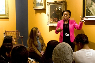 Keonna Hendrick challenges learners to think critically about cultural representations in art.  Photo by Jonathan Dorado , Brooklyn Museum