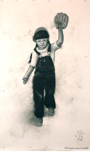 "Lorraine García-Nakata, ""1950's Self Portrait,"" Charcoal on Paper, 7'x 4' 2"", 2008"