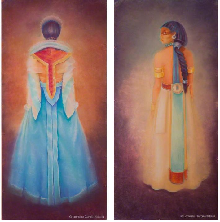"Lorraine García-Nakata, ""Facio Nova Omnia II: Colonia"" and ""Facio Nova Omnia II: Indigena"" (Diptych), Pastel on Paper, each 7'x 3' 9"" 2005"