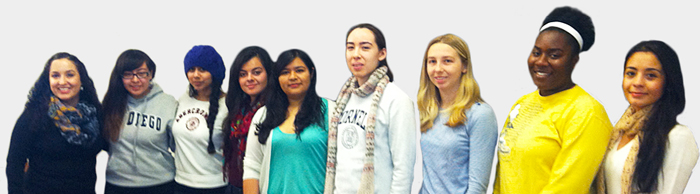 Student Photo: From left to right: Professor Ella Diaz, Sarah Proo, Ashley Elizondo, Carmen Martínez, Stephanie Martinez, Elizabeth Ferrie, Kerry Close, Eamari Bell, & Gabriela Leon. (Not pictured: Phoebe Houston)