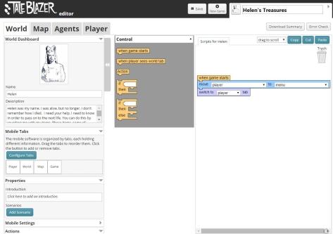 Screenshot of the TaleBlazer interface.