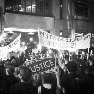 Portland protest march in support of Ferguson and justice, November 25, 2014.  Photo by Mike Murawski
