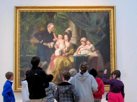 "Photo by Universal Pops at Flickr.com.  Photograph of a school group on tour at the North Carolina Museum of Art viewing ""Sir William Pepperrell and His Family (1778, oil on canvas) by John Singleton Copley."