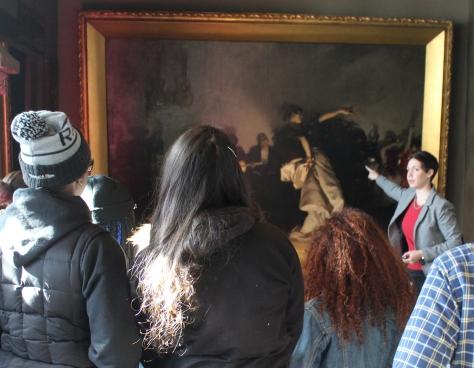 EMK students using VTS to discuss El Jaleo by John Singer Sargent, 1882, Isabella Stewart Gardner Museum, Boston.