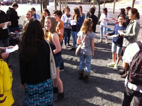 Students from Bryson City and Chapel Hill participate in an ice breaker before starting the museum visit.