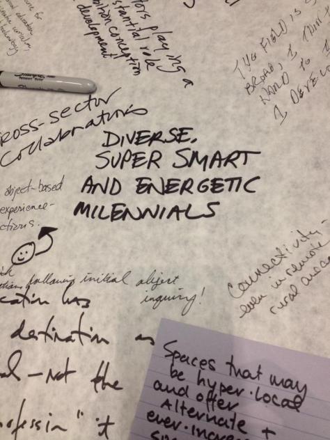 More brainstorming artifacts from convening. Photo via Twitter from Kaywin Feldman @KaywinFeldman
