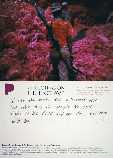 Sample visitor response card from the Reflecting on The Enclave interpretation space, Portland Art Museum.