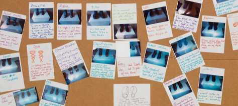 "Photo of stories written by visitors participating in the ""A Mile in My Shoes"" exhibit"